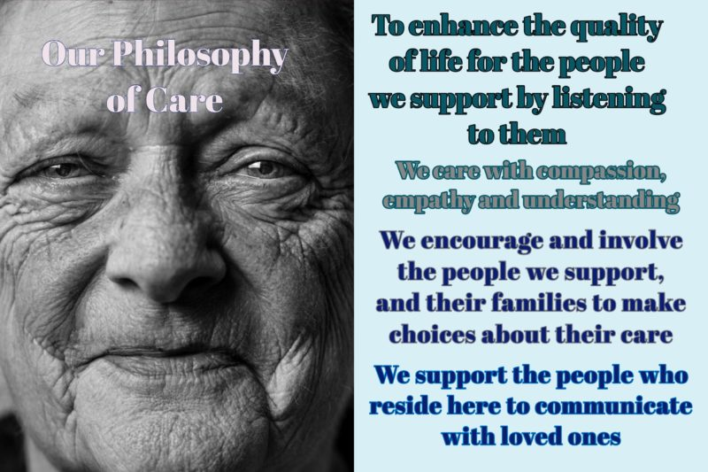 Bridge, Burton and Trent Courts are specialist and mental health nursing homes and this is our philosophy of care