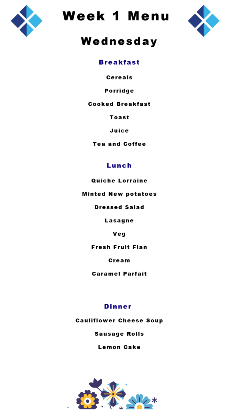 Asquith Hall specialist dementia and mental health nursing care home menu